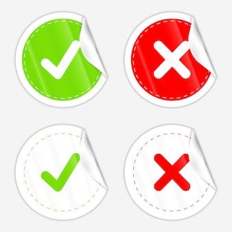 Papierfaltenaufkleber für richtig falsch und häkchensymbole.