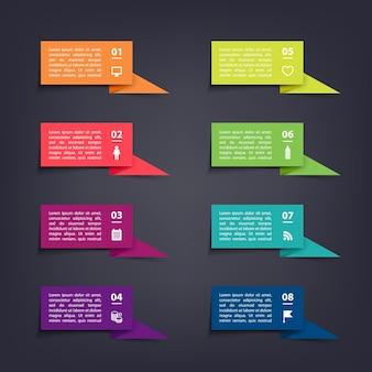 Papierflaggenaufkleber und etiketten mit realistischen schatten für infografik-set