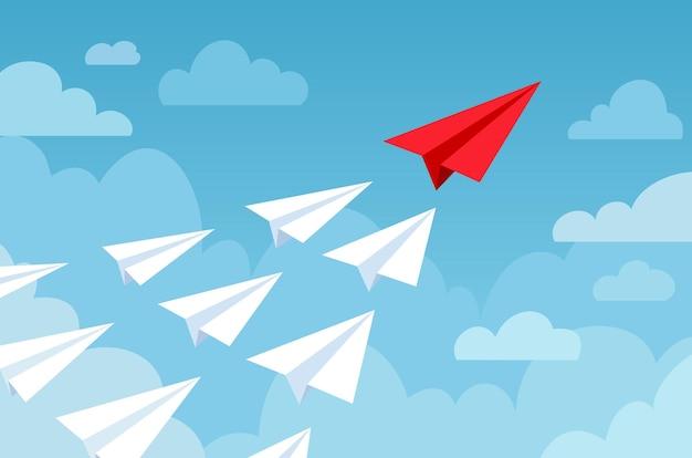 Papierflieger. fliegende flugzeuge in weißer und roter farbe, neue idee, führung starten. geschäftswettbewerb, finanzielles zielvektorkonzept des erfolgs. papierflugzeug, flugzeug-origami in der himmelsillustration