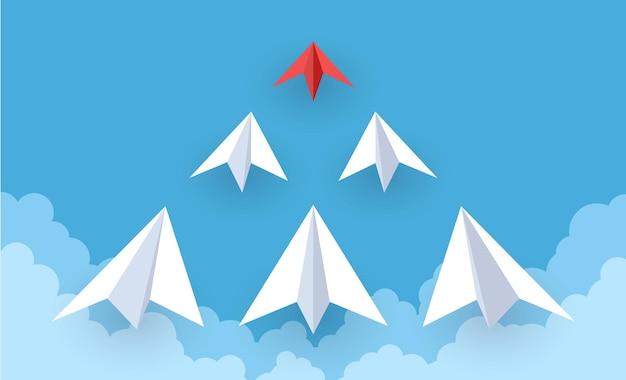 Papierflieger. rote und weiße papierflugzeuge, die in den himmel fliegen, erfolgsziel, kreative idee und führung, ehrgeizsymbol, teamwork-strategie und neues startup-ideen-vektorkonzept