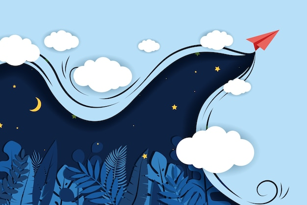 Papierflugzeug, das mit wolken auf einem blauen hintergrund fliegt