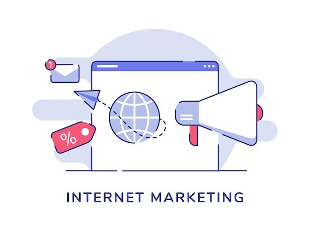 Papierflugzeug des internet-marketingkonzeptes, das vom globus-megaphon auf computerbildschirm mit flachem umrissstil fliegt