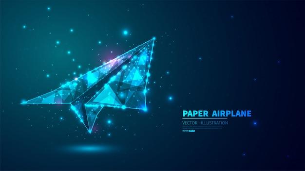 Papierflugzeug mit leuchtend niedrigem polygon.