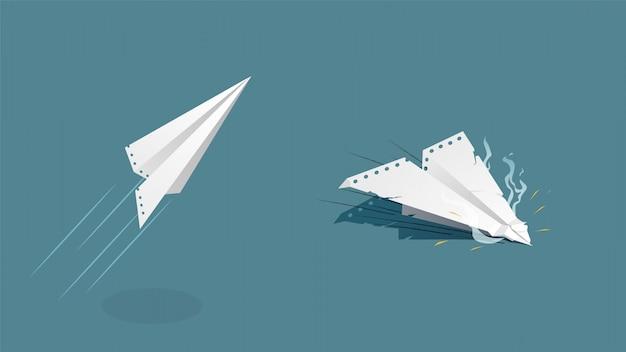 Papierflugzeug steigt und fällt. weißes flugzeugpapierblatt stürzt ab.
