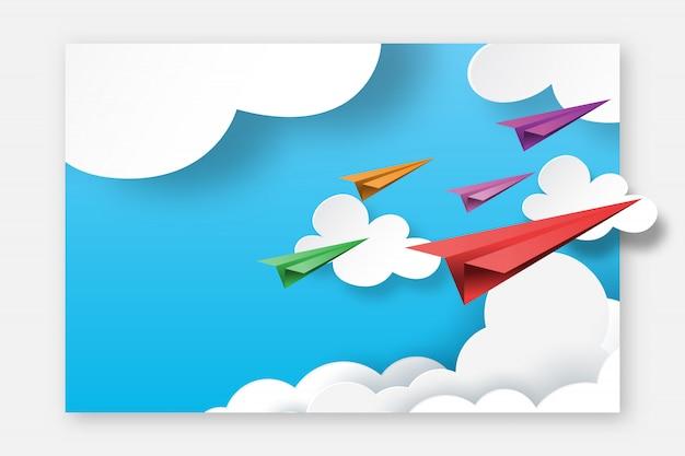 Papierflugzeuge, die auf landungsseitenschablonen-planhintergrund des blauen himmels fliegen.