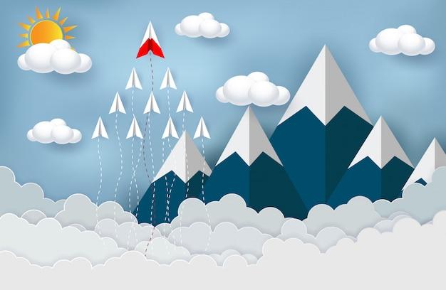 Papierflugzeuge konkurrieren mit zielen, die in den himmel starten
