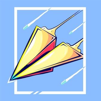 Papierflugzeugkarikaturillustration