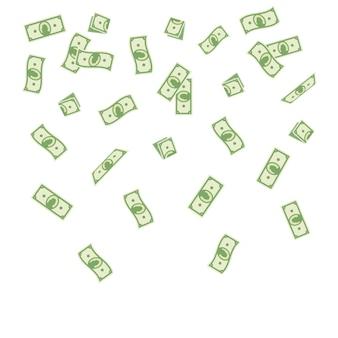 Papiergeld, das auf einen weißen hintergrund fällt