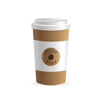 Papierkaffeetasse auf weißem hintergrund. leer. , vorlage. kaffee trinken.