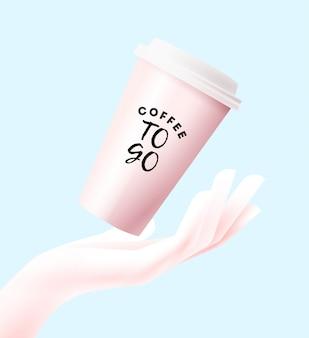 Papierkaffeetasse, die zur handschattenbild fällt. auf blauem hintergrund isoliert. kaffee zu gehen oder konzeptillustration wegzunehmen