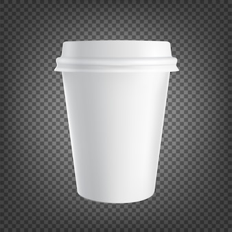 Papierkaffeetasseikone lokalisiert auf schwarzem transparentem. kaffeetrinkbecher.