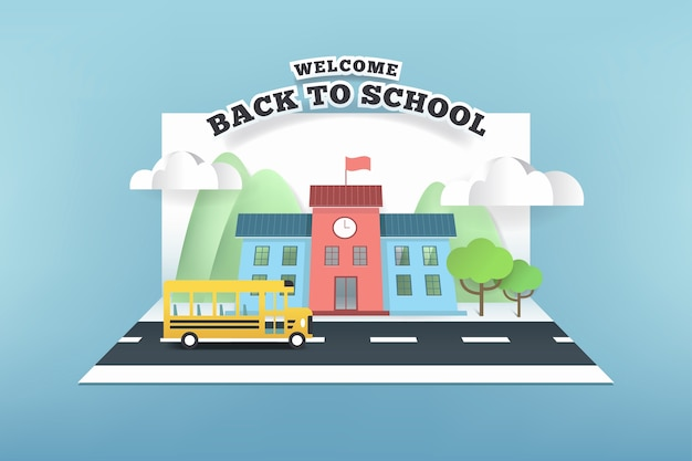Papierkarte der schule und des busses, die auf der straße laufen.