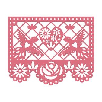Papierkarte mit ausgeschnittenen blumen, tauben und herzen.