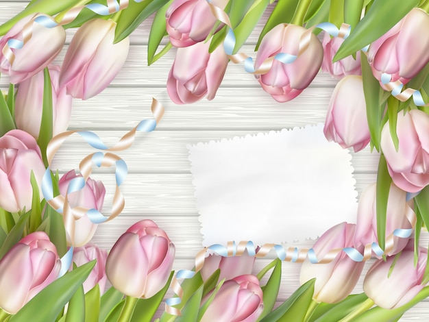 Papierkarte mit tulpen.