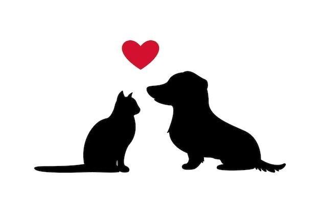 Papierkunst der schwarzen katze, des hundes und des roten herzens, silhouetteillustration