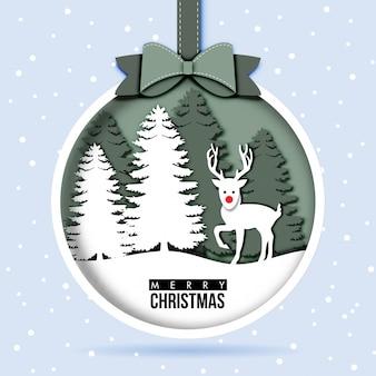 Papierkunst der weihnachtskarte mit ren