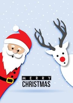 Papierkunst der weihnachtskarte mit santa claus