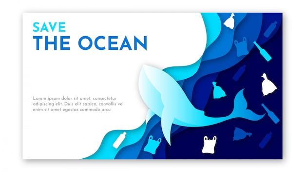 Papierkunst der weltozean-tagesschablone mit blauem meer, müll von plastik und walillustration