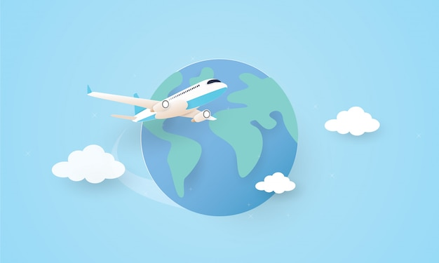Papierkunst des flugzeugs, das um die welt fliegt, feiertagskonzept