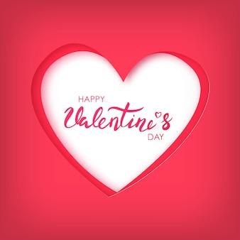 Papierkunst des glücklichen valentinsgrußtag auf rotem herzen.