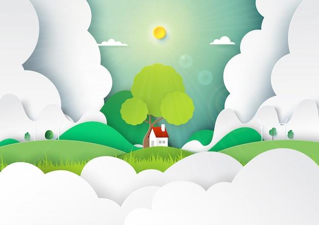 Papierkunst des naturlandschaftskonzeptes mit wenig cattage, wolken und gebirgshintergrund.