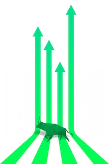 Papierkunst des origami bull und papierkunst des grünen pfeiles für börsevektor und -illustration