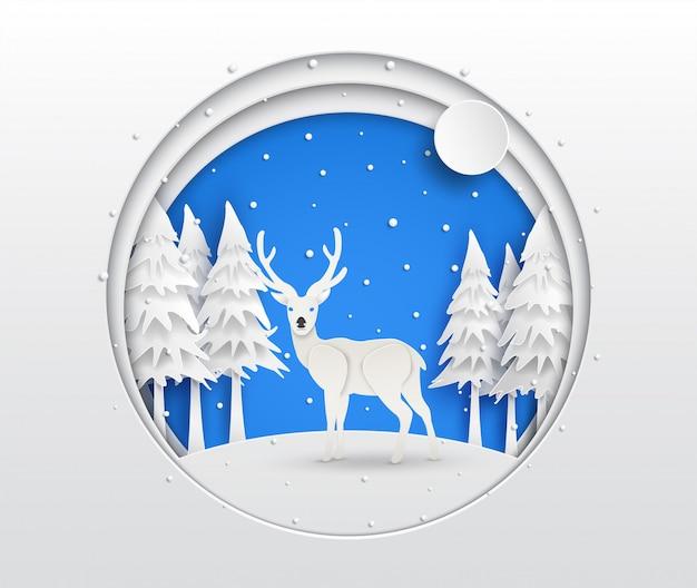 Papierkunst des rens im wald