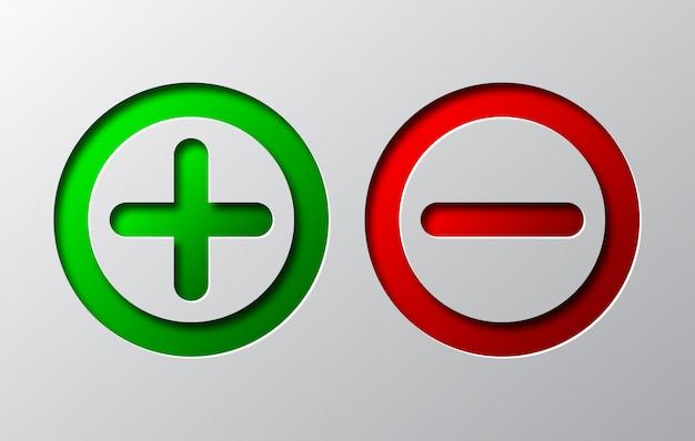 Papierkunst des roten minus und des grünen plus. vektorillustration.