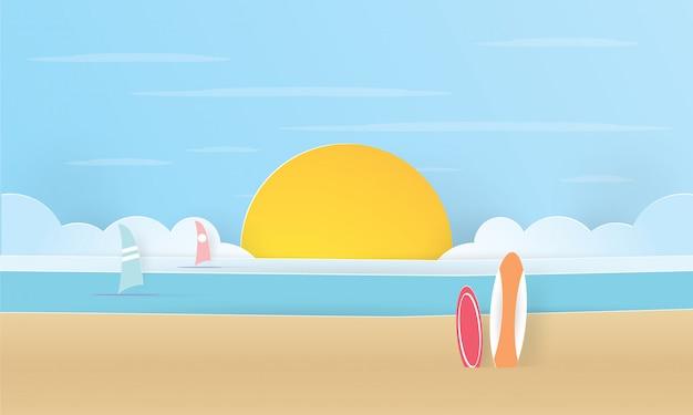 Papierkunst des sommermeeres und der surfbretter am strand, sommerzeit