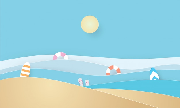 Papierkunst des sommerstrandes, der sommerzeit, des feiertags