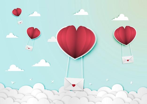 Papierkunst des valentinstagfestivals mit liebesbrief- und papierballonherzformvektor