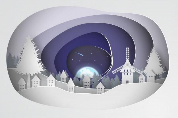 Papierkunst des weihnachtshintergrundes