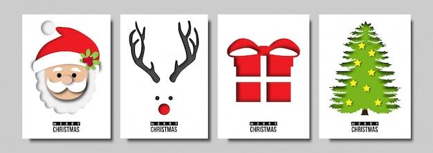 Papierkunst des weihnachtskartenvektors