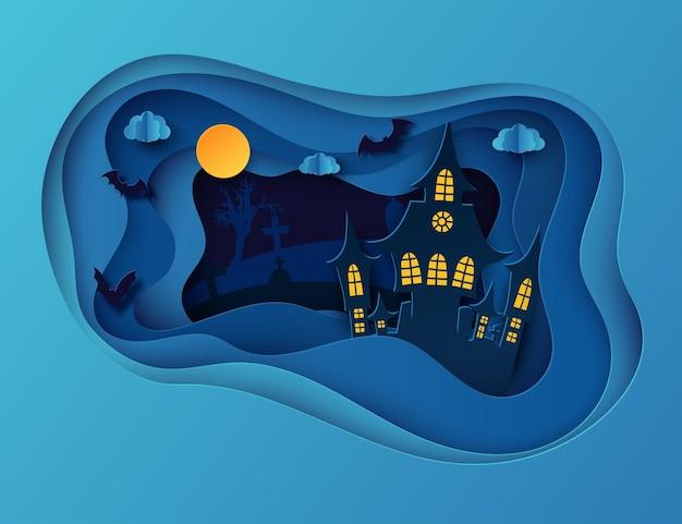 Papierkunst halloween-nachthintergrund mit fliegenden fledermausgräbern des spukhauses und totem baum