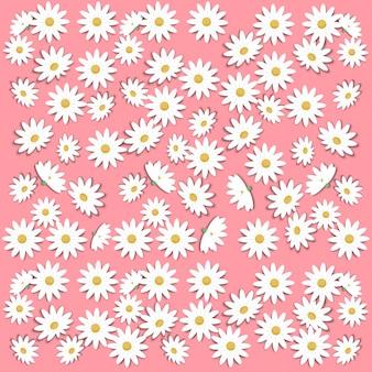 Papierkunst mit gänseblümchenblume und frühlingshintergrund