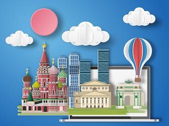 Papierkunst Moskau, Russland infographic.