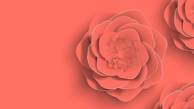 Papierkunst, sommerrosenblumen auf einem lebenden korallenfarbenen hintergrundschnitt des papiers. vektorgrafik auf lager