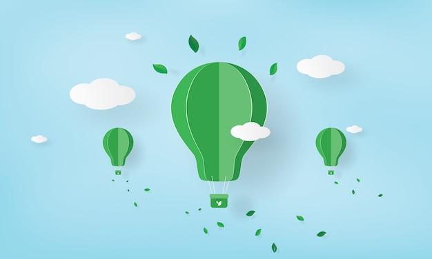 Papierkunst von grünen ökologieballonen und von umweltfreundlichem design, umweltkonzept