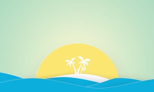Papierkunst von insel mit palmen