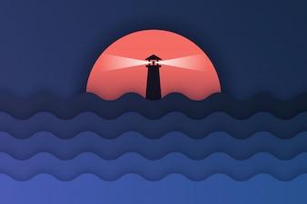 Papierkunst von Meerblick und Sonnenuntergang
