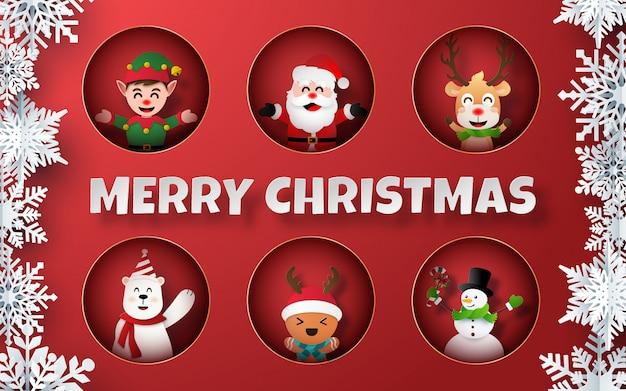 Papierkunst von weihnachtscharakteren auf rotem hintergrund