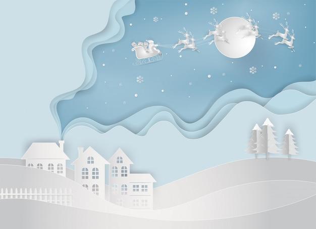 Papierkunst von weihnachtsmann kommt zur landschaft. frohe weihnachten und neujahr.
