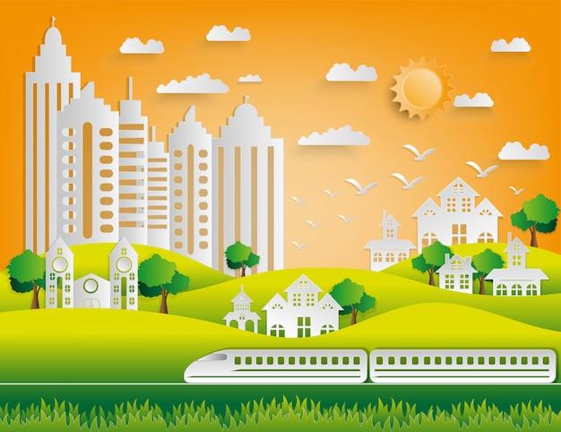 Papierkunstart der landschaft in der stadt mit sonnenuntergang.