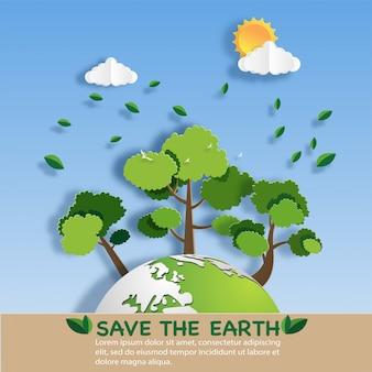 Papierkunstart der landschaft mit eco grüner stadt.