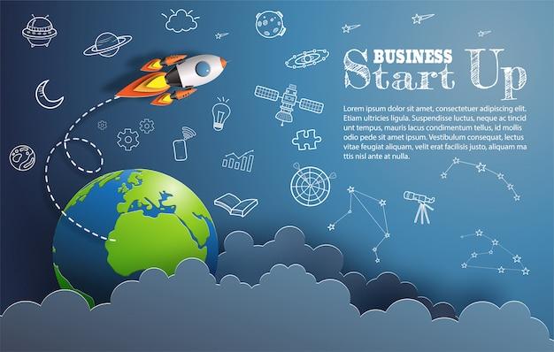 Papierkunstart des raketenfliegens im raum, planet und beginnen oben gekritzel.