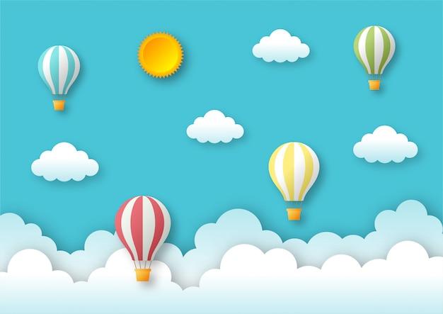 Papierkunstart reisen mit fliegendem hintergrund des ballons.