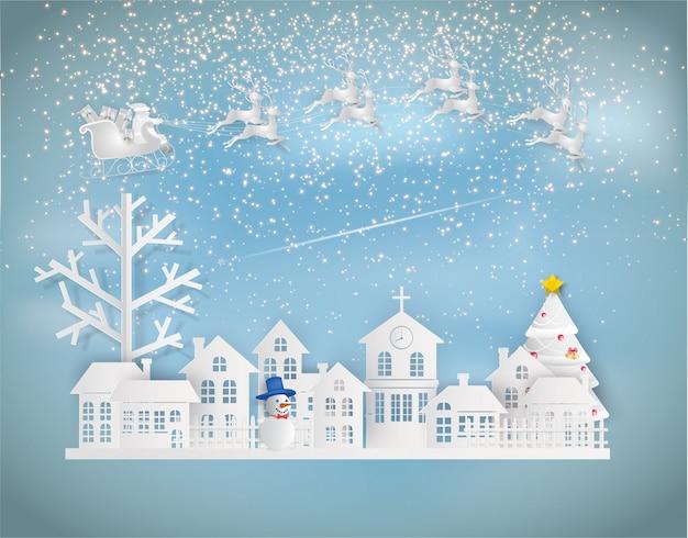 Papierkunstart von santa claus auf dem himmel, der zur stadt in der wintersession kommt.