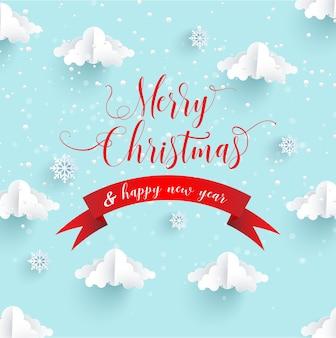 Papierkunstentwürfe für den winter. fröhliche weihnachten. papierkunststil