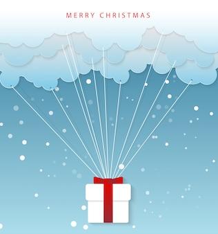 Papierkunstkarikatur von santa claus 'händen mit wolke. vektorillustration der frohen weihnachten und des guten rutsch ins neue jahr.