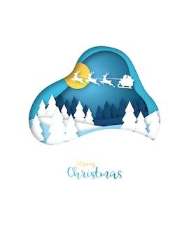 Papierkunstkarte der frohen weihnachten.